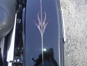 We hand stripe and detail complete Bikes, tanks, bags, fenders...