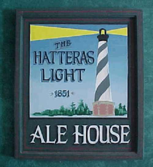 This wooden pub sign was based on the civil war lighthouse in the south.