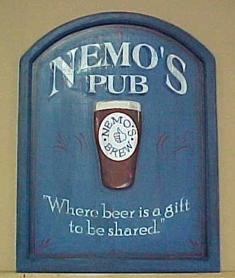 This wooden pub sign was custom made for someone's personal bar.