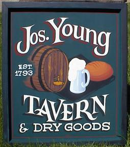 This wooden pub sign was based on an actual tavern that existed here in Gilmanton.